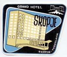 Luggage Label Hotel GRAND Skopje Skoplje Macedonia Makedonija Yugoslavia - Hotel Labels
