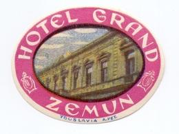 Luggage Label Hotel GRAND Zemun Serbia Yugoslavia - Hotel Labels