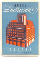 Luggage Label Hotel DUBROVNIK Zagreb Croatia Yugoslavia - Etiketten Van Hotels