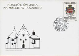 POLAND FDC 1992 POSTAL AGREEMENT WITH SOVEREIGN MILITARY ORDER OF MALTA ST SAINT JOHN'S CHURCH POZNAN - Malta (Orde Van)