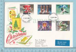 GB - FDC PPJ, 1984 , 5 Stamps, Flame: Christmans 1983, Send To Canada Viai Air - Noël