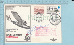 GB - FDC PPJ, 1970 , 2 Stamps, Flame: Royal Air Force St. Mawgan, Postmark At Back - Militaria