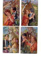 Lotto Di 4 Curiose Cartoline Di Coppie Con Cavalli - Autore Fachinetti - Viaggiate WW I ( 214 ) - Couples