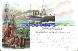 103588 GERMANY GRUSS AUS HAMBURG ART HUNOLDS CITY AND HARBOR TOUR YEAR 1899 POSTAL POSTCARD - Deutschland