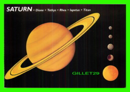 ASTRONOMIE - SATURN, DIONE, TETHYS, RHEA, LAPETUS, TITAN - ILLUSTRATED BY BRUCE LAFONTAINE - DIMENSION 11.5 X 17 Cm - - Astronomie
