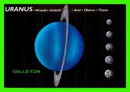 ASTRONOMIE - URANUS, MIRANDA, UMBRIEL, ARIEL, OBERON, TITANIA ILLUSTRATED BY BRUCE LAFONTAINE - DIMENSION 11.5 X 17 Cm - - Astronomie