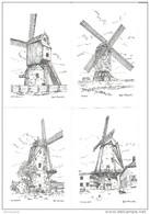 36895 (4 Scans ) Molen Meulebeke - Tielt - Ruislede - Kanegem - Pentekening Van Luc Ameel - 5 Kaarten - Windmills