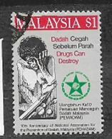 MALAYSIA  1986 The 10th Anniversary Of National Association For Prevention Of Drug Addiction USED - Malaysia (1964-...)