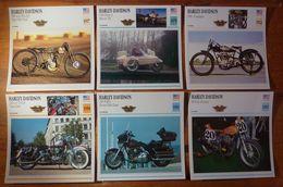 Moto Harley Davidson. 6 Fiches Illustrées Sur Ces Motos Américaines, De 1917 à 1992. - Sport