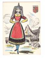 Folklore Bourgogne Illustration Illustrateur Margotton Carte Postale Peinte à La Main Costume Femme Blason - Bourgogne