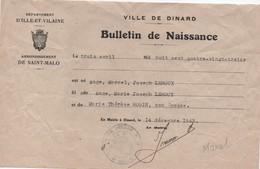 Bulletin De Naissance/ Ville De DINARD/ Arrondissement De Saint Malo/Leroux /1943      AEC155 - Unclassified