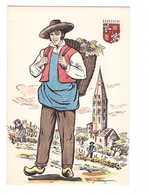 Folklore Bourgogne Illustration Illustrateur Margotton Carte Postale Peinte à La Main Costume Homme Vendange Blason - Bourgogne