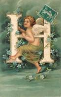 """ANGE - BELLE ILLUSTRATION GAUFFREE - ALPHABET LETTRE """"H"""" - Angels"""