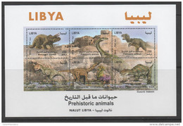 LIBYA, 2013, MNH, DINOSAURS, PREHISTORIC ANIMALS, ANCIENT RUINS, SHEETLET,  SCARCE - Stamps