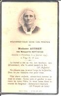 Souvenir De Madame Autret Née Marguerite Berthevas. Décédée à Plouénan En 1947. - Faire-part