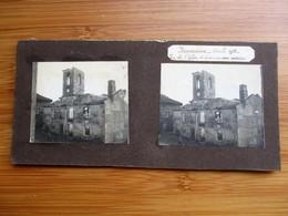 34/ 41 Photo Stéréoscopique Guerre 14/18 - BERNECOURT Avril 1915 - Vue De L' Eglise Et D' Une Maison Voisine - Stereo-Photographie