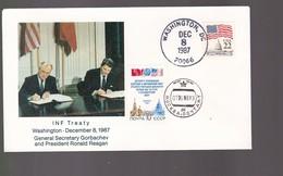 Inf Treaty  Washington December 1987  . Gorbachev  Et Reagan      Signature Du Traité   Timbre USA Et   Nyota  CCCP - Etats-Unis