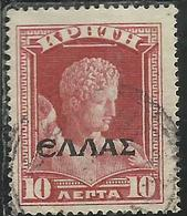 CRETE CRETA 1908 HERMES BY PRAXITELE ELLAS OVERPRINTED SOPRASTAMPATO LEPTA 10L USATO USED OBLITERE' - Crète