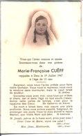 Souvenir De Marie Françoise Cuëff Décédée En 1947. - Faire-part