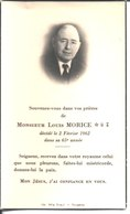 Souvenir De Monsieur Louis Morice Décédé En 1962. Imp Fougères. - Faire-part