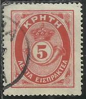 CRETE CRETA 1909 POSTAGE DUE STAMPS SEGNATASSE TAXE ELLAS OVERPRINTED SOPRASTAMPATO LEPTA 5L USATO USED OBLITERE' - Creta