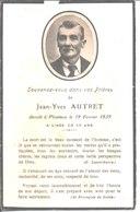 Souvenir De Jean Yves Autret Décédé à Plouinan En 1939. - Faire-part