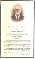 Souvenir De Olivier Sévère Décédé à Plouénan En 1945. - Faire-part