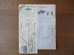 VINCENNES C. COUILLAULT-DANONVILLE CONFITURERIE ET CONFISERIE 16 RUE DU MOULIN FACTURE ET TRAITE DU 13 AVRIL 1928 - France
