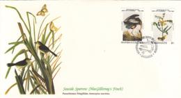 Barbados 1985 FDC Scott #667, #668 Great Blue Heron, Yellow Warbler Audubon Birds - Barbades (1966-...)
