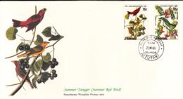 Aitutaki 1985 FDC Scott #368, #370 Gray Kingbird, Summer Tangier Audubon Birds - Aitutaki
