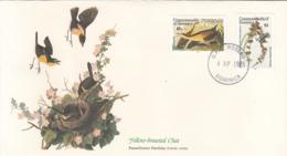 Dominica 1985 FDC Scott #891, #892 King Rail, Black & White Warbler Audubon Birds - Dominique (1978-...)