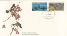 Djibouti 1985 FDC Scott #590, #592 White Throated Bee-eater, Yellow-breasted Barbet Audubon Birds - Djibouti (1977-...)