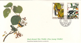 Cook Islands 1985 FDC Scott #849, #854 Downy Woodpecker, White-crowned Sparrow Audubon Birds - Cook