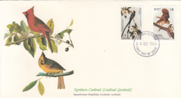 Ghana 1985 FDC Scott #980, #981 York-tailed Fly Catcher, Barred Owl Audubon Birds - Ghana (1957-...)