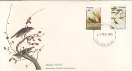 Grenada 1985 FDC Scott #1251, #1252 Clapper Rail, Hooded Warbler Audubon Birds - Grenade (1974-...)