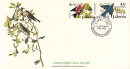 Liberia 1985 FDC Scott #1019, #1021 White-winged Crossbill, Eastern Bluebird Audubon Birds - Liberia