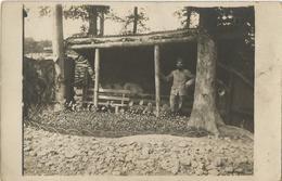 Carte Photo Soldats Français, Baraquement En Bois Poste De Commandement, En Argonne    / 14-18 / WW1 / POILU - 1914-18