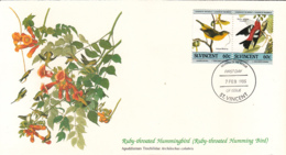 St. Vincent 1985 FDC Scott #809 Painted Bunting, White-winged Crossbill Audubon Birds - St.Vincent (1979-...)