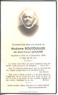Souvenir De Madame Boutouiller Née Marie Yvonne Quillévéré En 1949.Lib Cocaign Saint Pol De Léon. - Faire-part