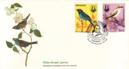 Paraguay 1985 FDC Scott #2141c, #2141d Blue Manakin, White Monjita Audubon Birds - Paraguay