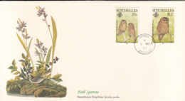 Seychelles 1985 FDC Scott #559, #560 Bare-legged Scops Owls Audubon Birds - Seychelles (1976-...)