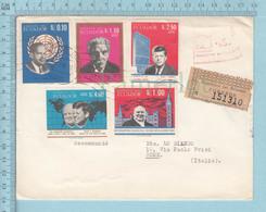 EC - 1966 - 1251-1255 - ECUADOR - 1 SATZ -SET- KENNEDY-CHURCHILL-SCHWEITZER , Send To Roma, Registered Sticker - Equateur