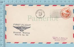 USA   - Stationary 6¢ , Flasme: First Flight Houston  Memphis Route No:53, Aerograme - Poste Aérienne