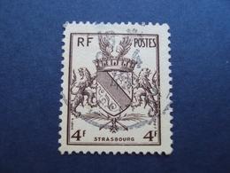 """1945-timbre Oblitéré N° 735 """" Blason De Strasbourg""""  Cote 0.30 Net 0.10 - France"""