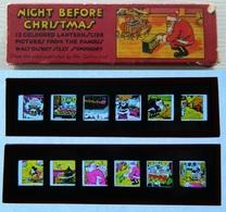 Walt Disney - Plaques De Verre - Lanterne Magique - Night Before Christmas - Père Noël - 12 Coloured Pictures - Glasdias