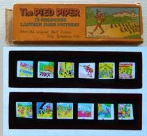 Walt Disney - Plaques De Verre - Lanterne Magique - The Pied Piper - Joueur Cornemuse - 12 Coloured Pictures - Glasdias