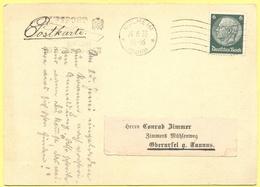 Deutsches Reich - 1933 - 6 + Flamme Luftpost - Postkarte - Viaggiata Da Mülheim Per Oberursel - Storia Postale