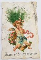 CPA 1907 - Bonne Et Heureuse Année Ajoutis Chromo Ange Angelot Et Herbe Séchée * Ecrite à Calais Janvier 1907 - Angels