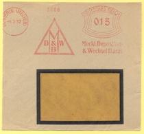 Deutsches Reich - 1932 - 015 EMA, Red Cancel - Mecklenburgische Depositen- Und Wechsel Bank - Fragment - Viaggiata Da Sc - Machine Stamps (ATM)