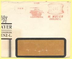 Deutsches Reich - 1930 - 015 EMA, Red Cancel - M. Mayer Coblenz-L. - Fragment - Viaggiata Da Koblenz - Marcophilie - EMA (Empreintes Machines)